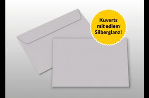 Kuverts für A6-Karten, silber glänzend