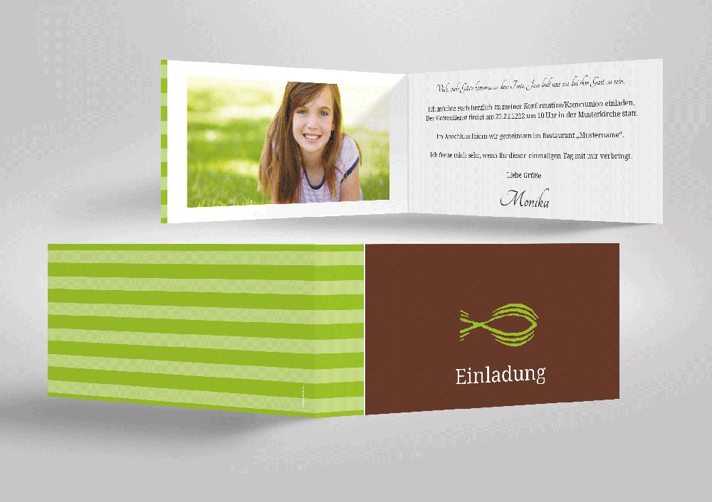 Farbenfrohe Einladungskarte Zu Kommunion Und Konfirmation. Freude