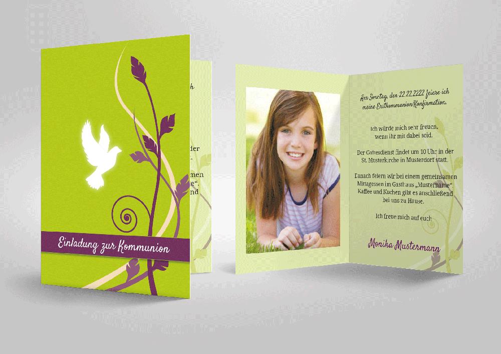 ... Einladungskarte Zu Kommunion Und Konfirmation! Weiße Taube