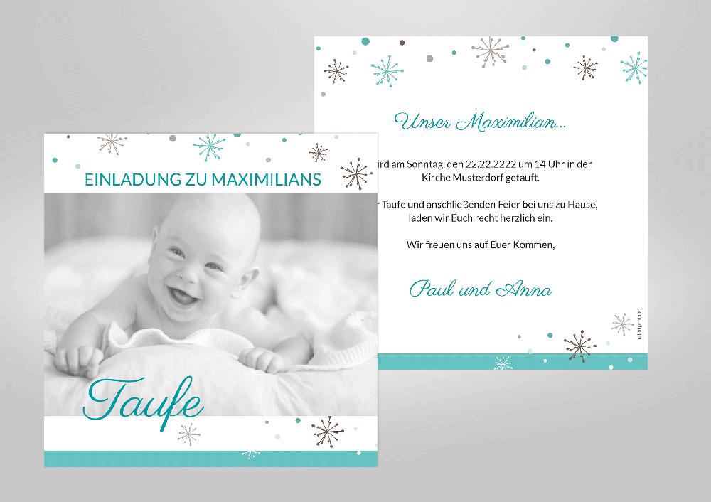 Verspielte Einladungskarte Zur Taufe Ihres Lieblings! Zarte Punkte