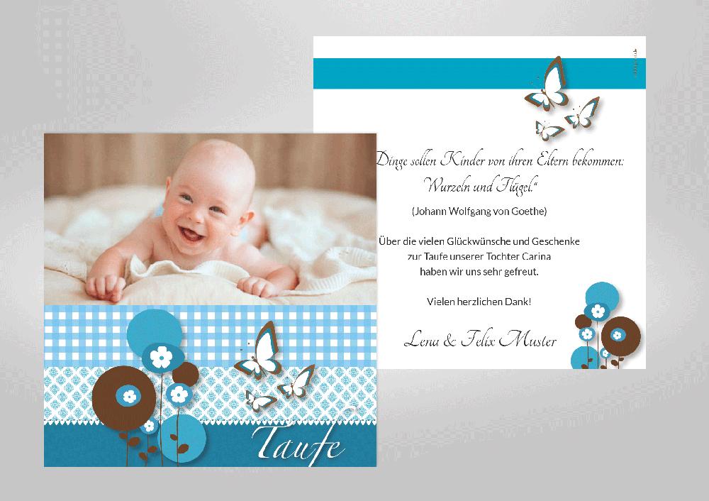 Verspielte Dankeskarten Zur Taufe Zum Selbstgestalten Mit