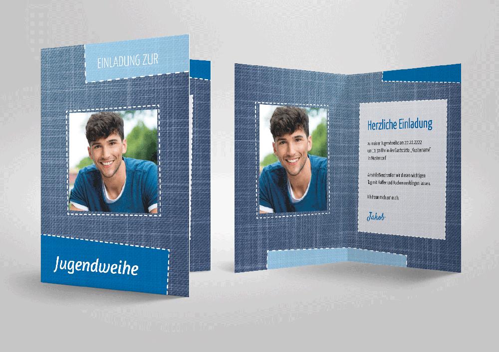 Ausdrucksvolle Einladungskarten Zur Jugendweihe! Jeans
