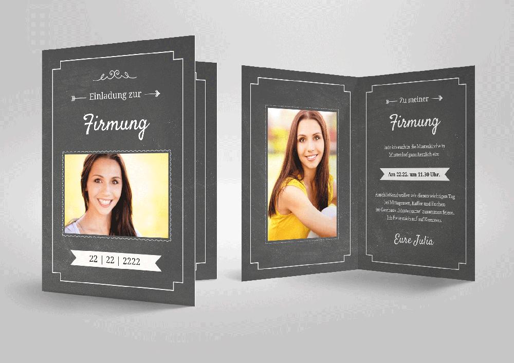 Harmonische Einladungskarte Zu Ihrer Firmung! Schiefertafel