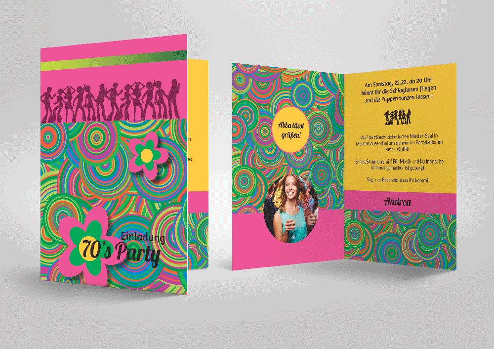Fetzige Einladungskarte Zur 70er Jahre Party Zum Selbstgestalten Mit