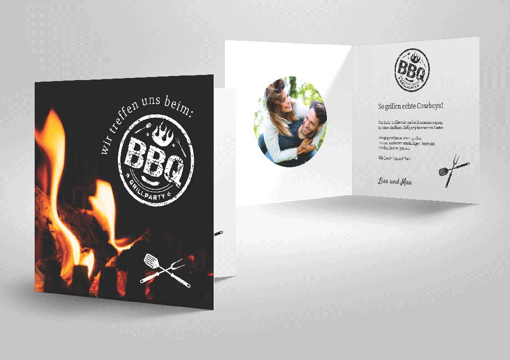 originelle einladungskarte zur grillfeier zum selbstgestalten., Einladung