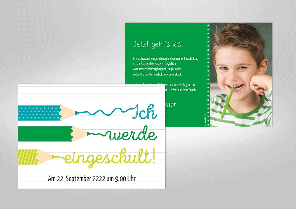 Bunte Einladungskarte Zur Einschulung. Buntstifte