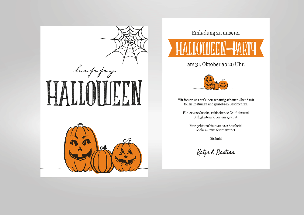 Einladungskarten. Halloween   Kürbisse