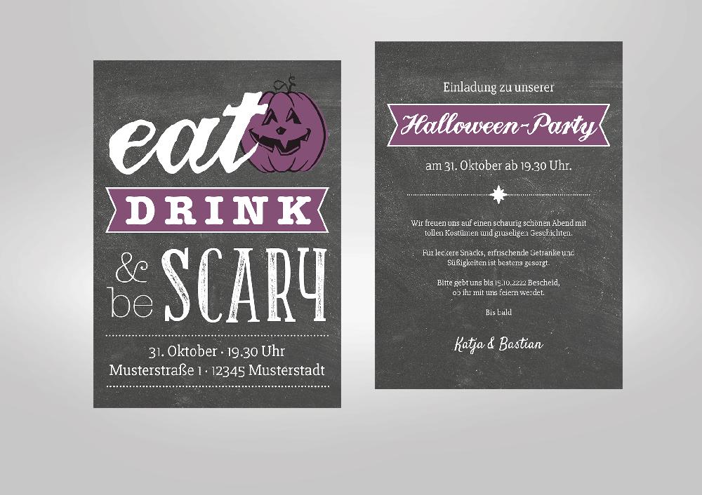 Halloween Party. Leuchtend Bunte Einladungskarten Zu Halloween! Eat, Drink  U0026 Be Scary