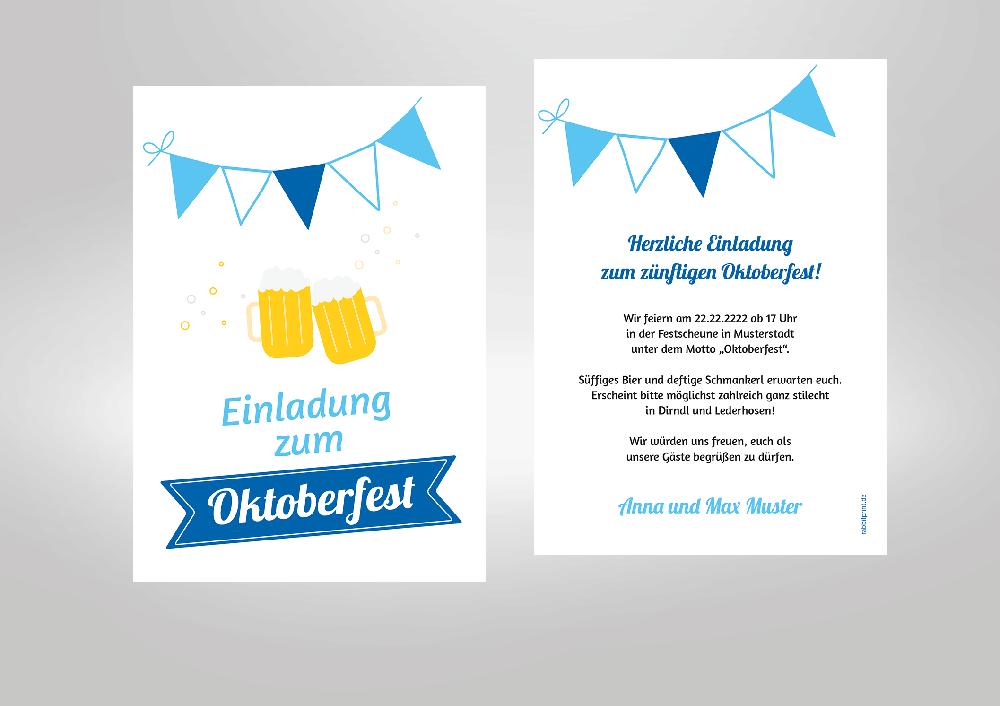 Selbstgestaltete Einladungskarte Für Ihre Mottoparty. Weiß Blau