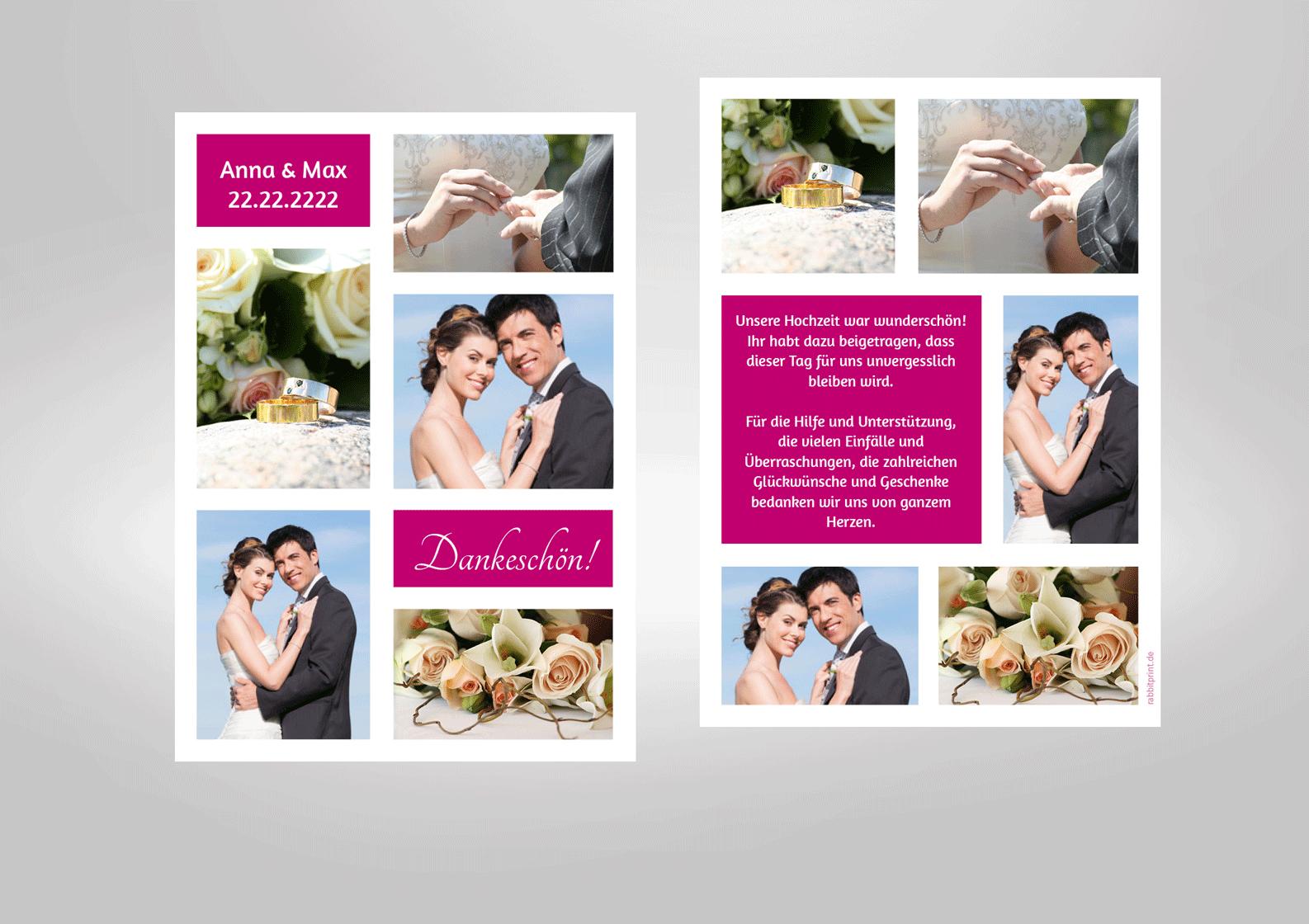 Dankkarte zur Hochzeit mit vielen Fotos, pink