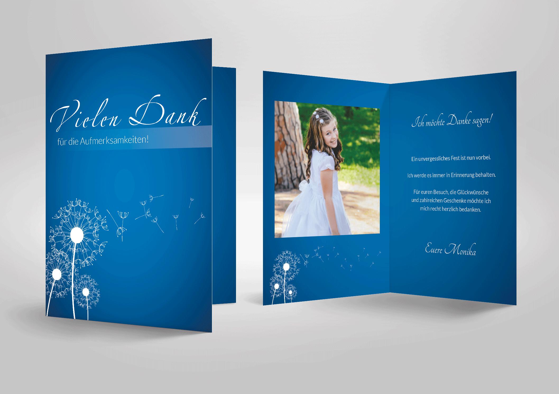 Dankeskarte zur Kommunion in blau mit einer Pusteblume als Motiv