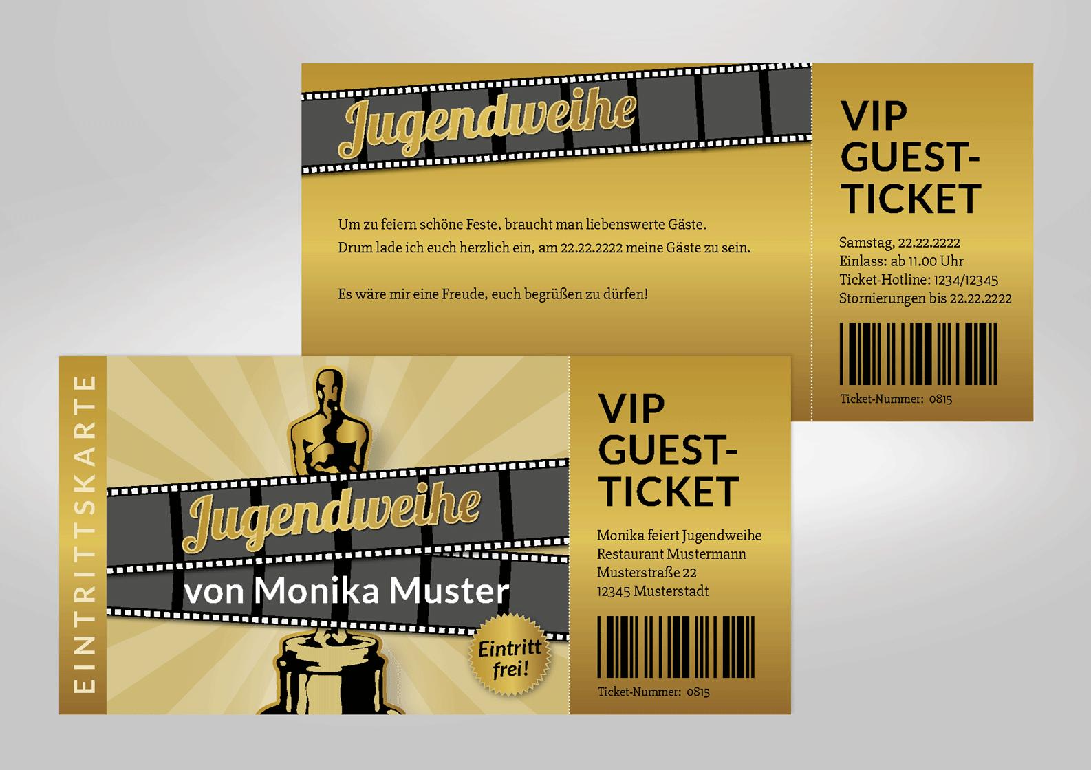 Einladung zur Jugendweihe als VIP-Ticket