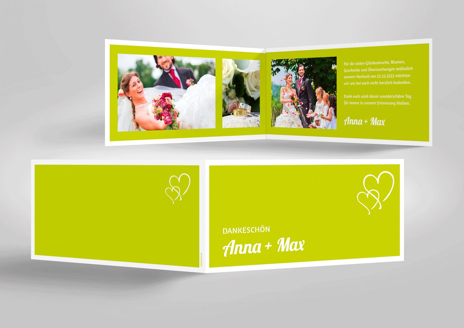 Dankkarte zur Hochzeit hellgrün mit zwei Herzen und vielen Fotos