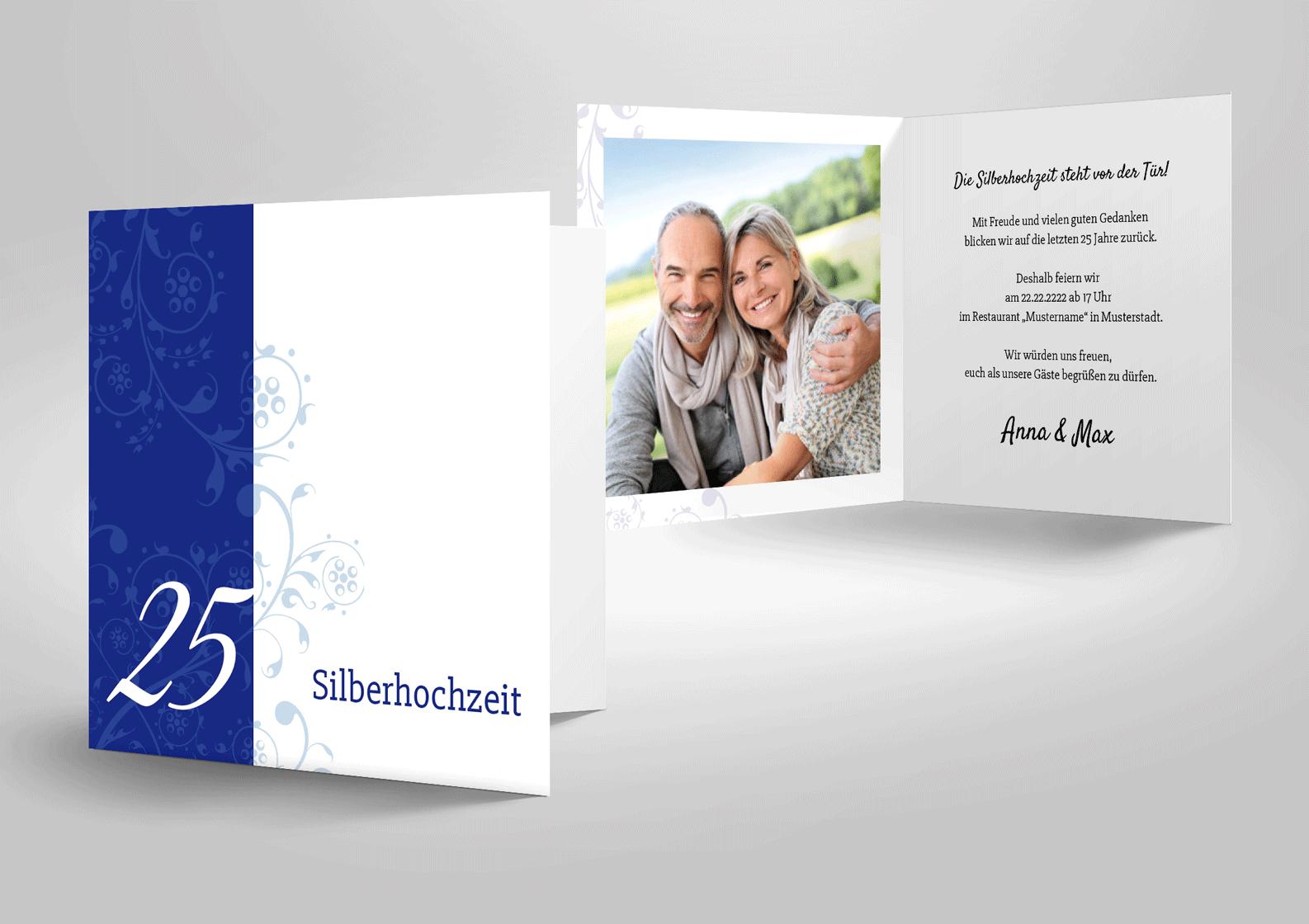 Einladungskarte zur silbernen Hochzeit