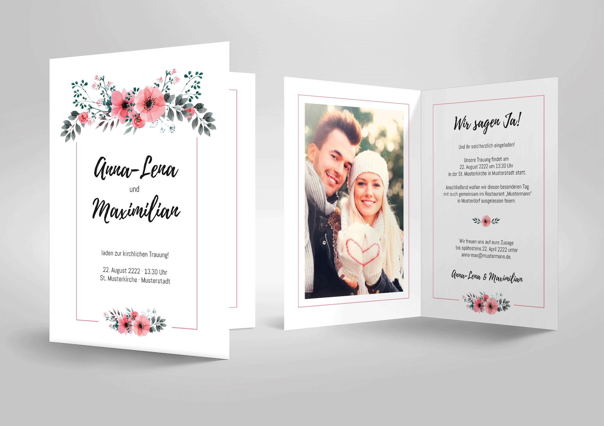 Hochzeitseinladung Karte mit Aquarellblumen rosa