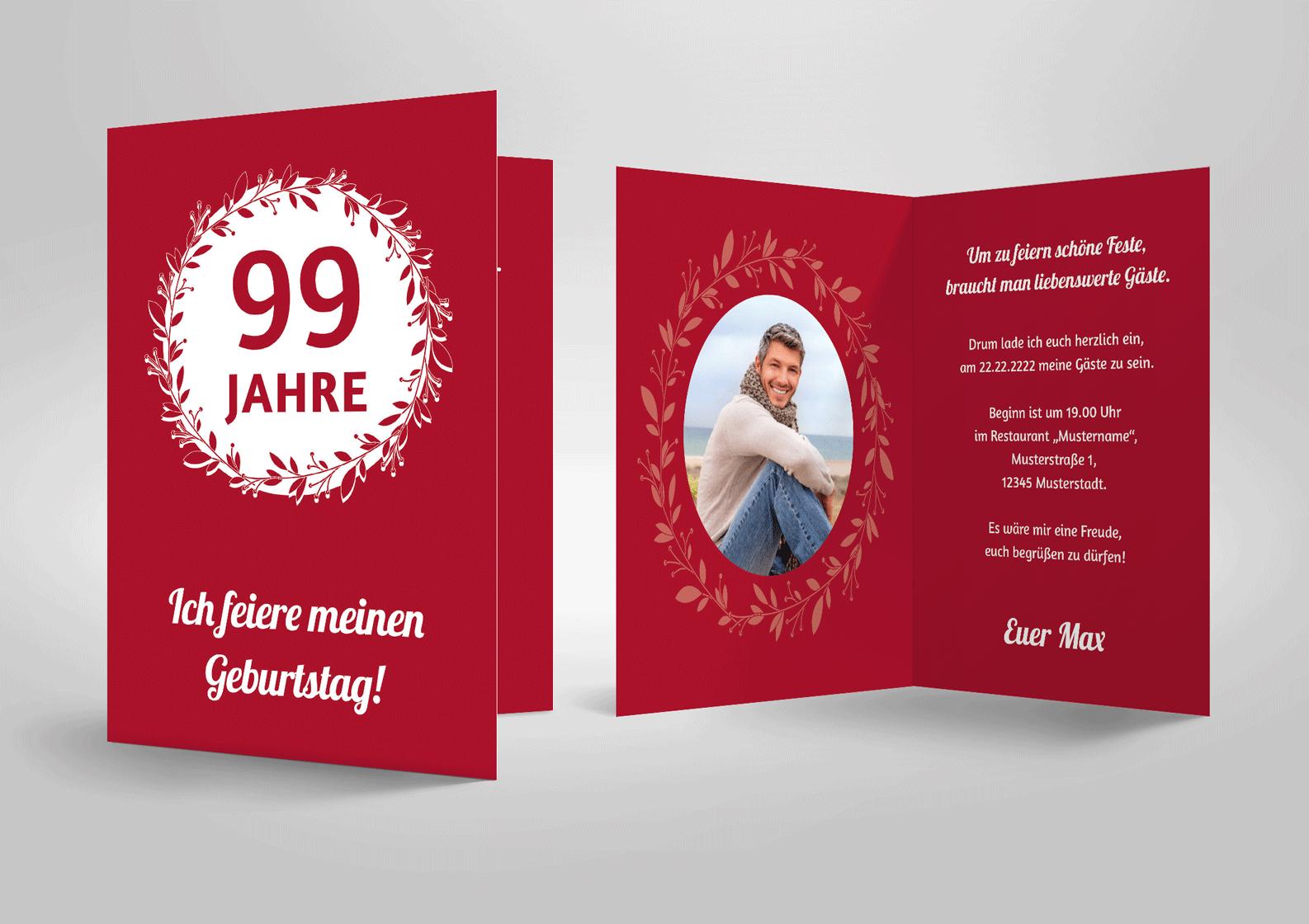Einladungskarte zum Geburtstag Lorbeerkranz, klassische Geburtstagseinladung