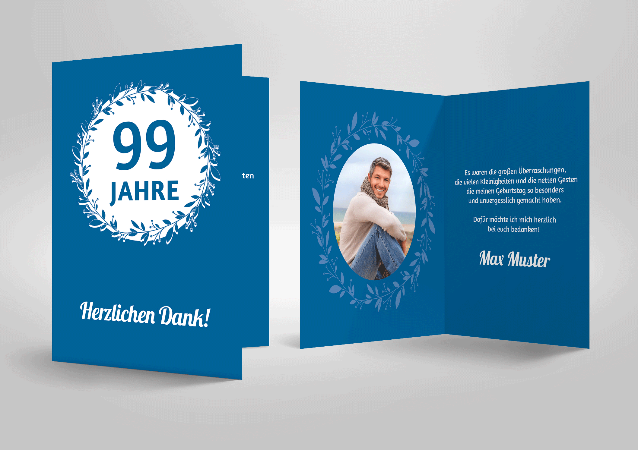 Dankeskarte zum Geburtstag, Juiläum Lorbeerkranz