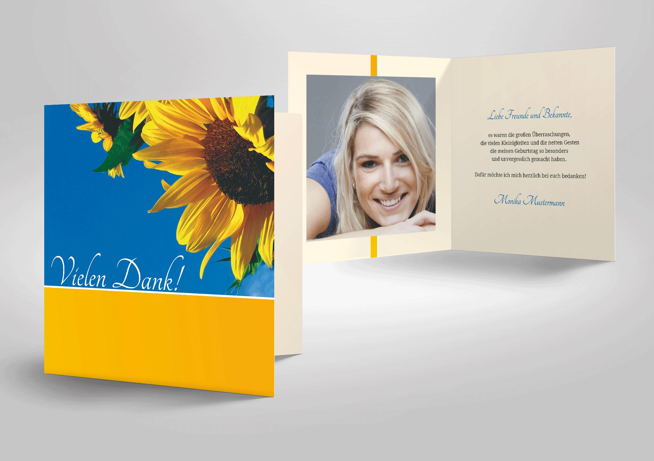 Dankkarte zum Geburtstag Sonnenblumen und blauer Himmel