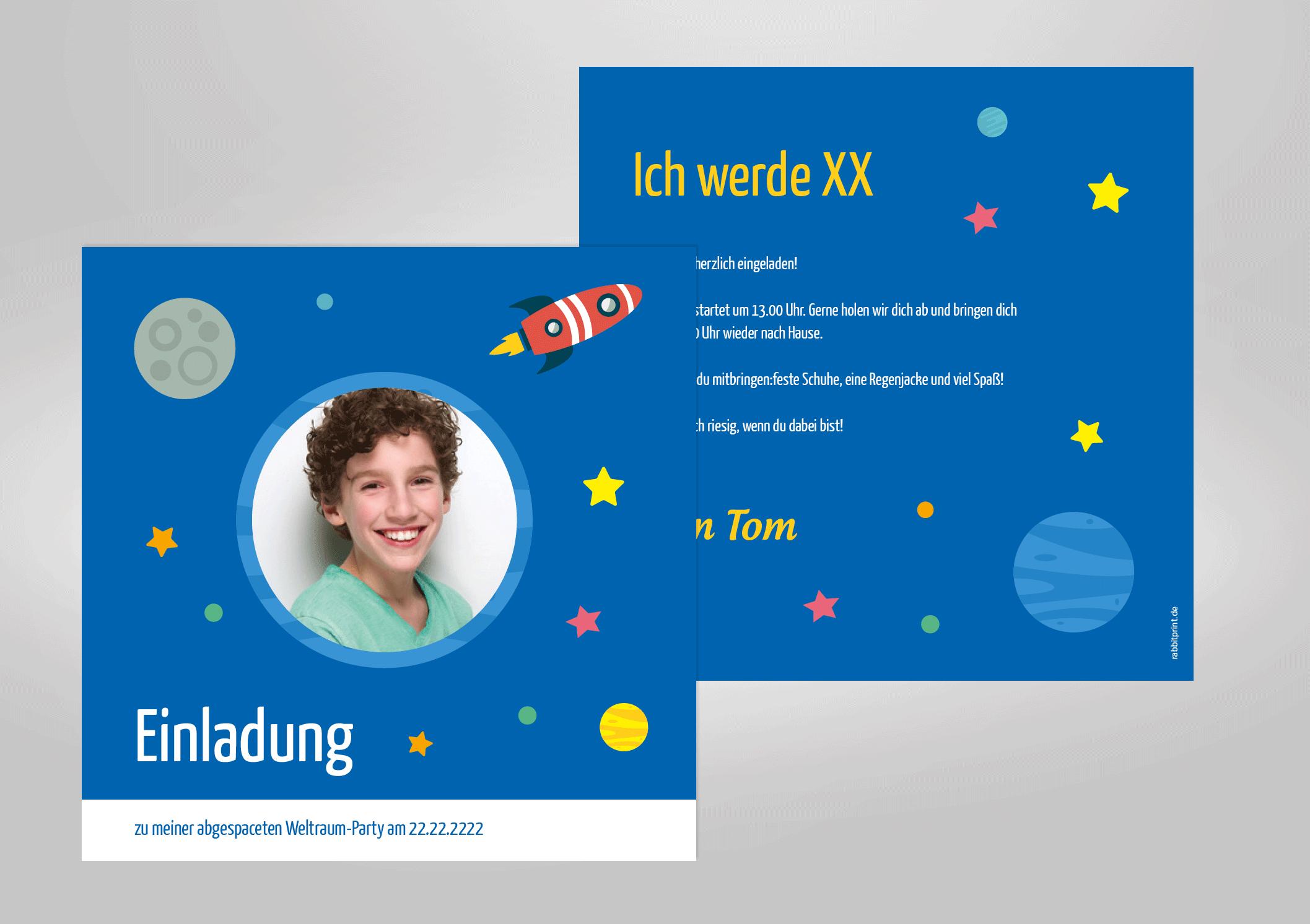 Einladungskarte zum Kindergeburtstag, Weltall, Astronaut, Rakete