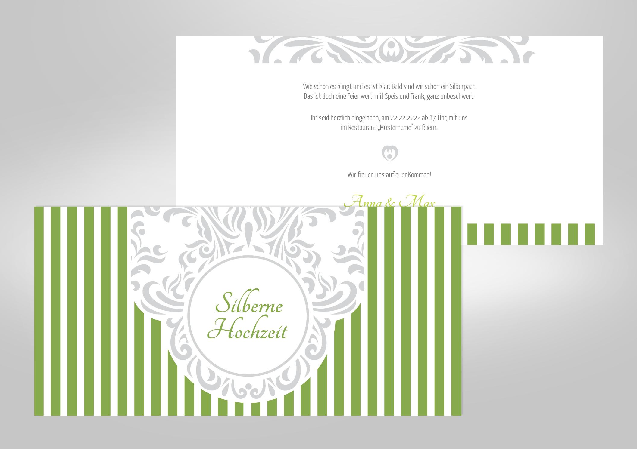 Einladungskarte zur Silberhochzeit mit hellgrünen Streifen