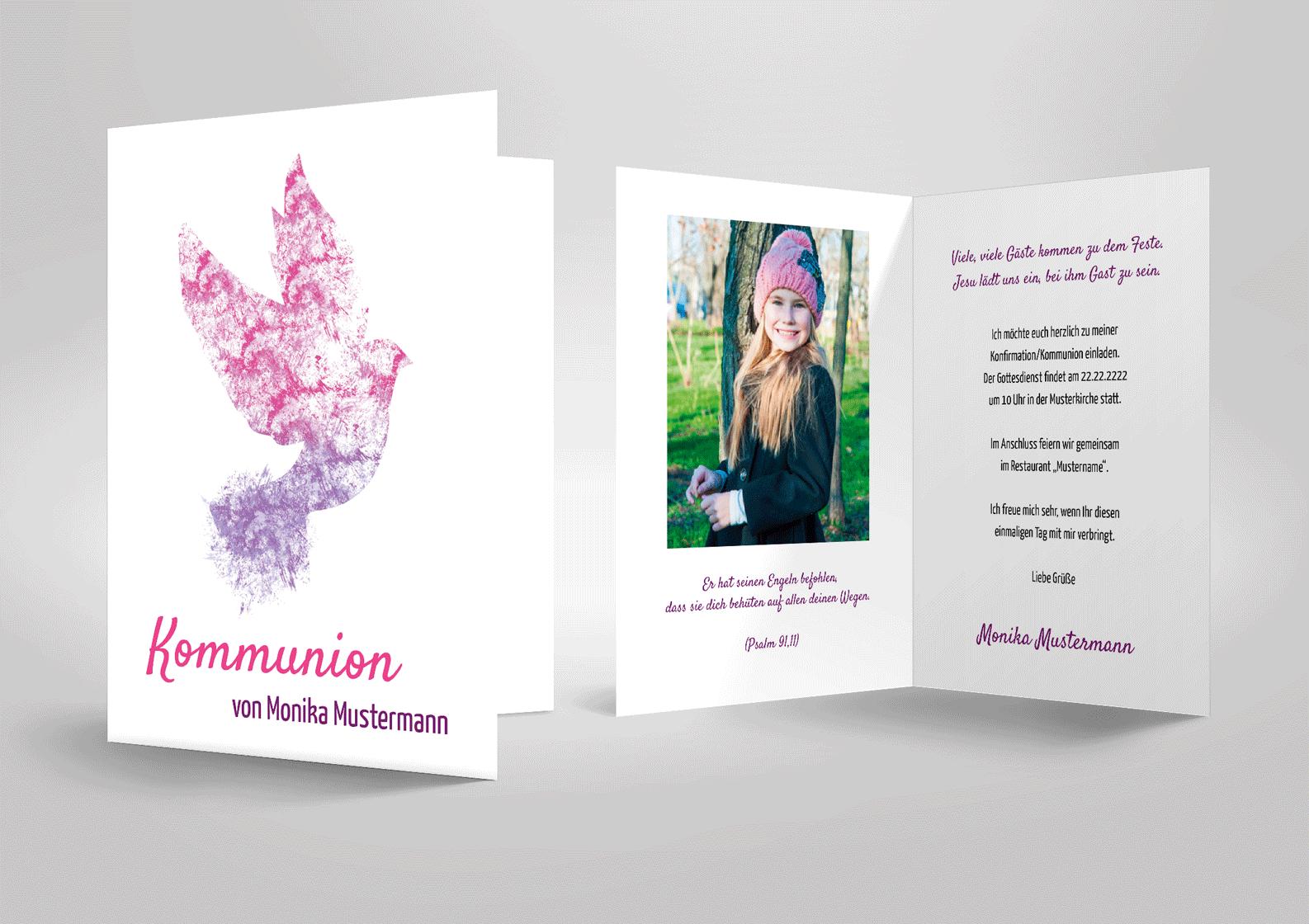 Einladungskarte zur Kommunion oder Konfirmation mit lila Taube Wasserfarben Aquarell