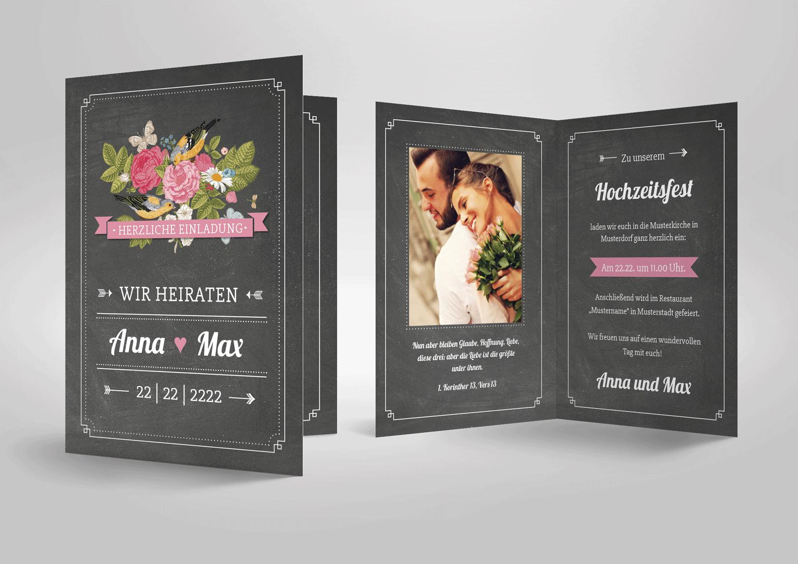 Einladungskarte zur Hochzeit Vintage Wedding