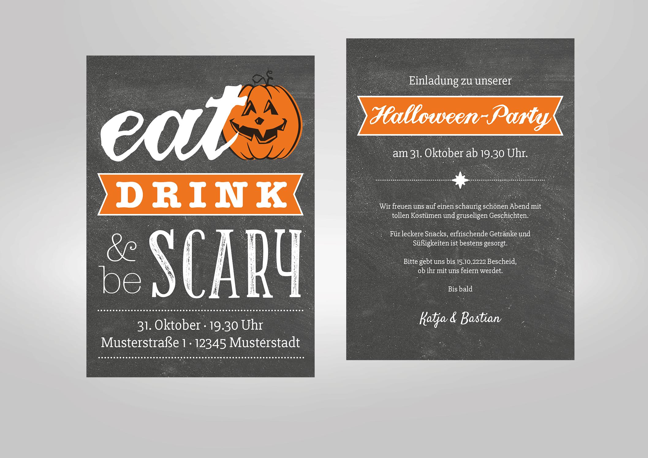 Einladung zur Halloweenparty mit Kürbissent