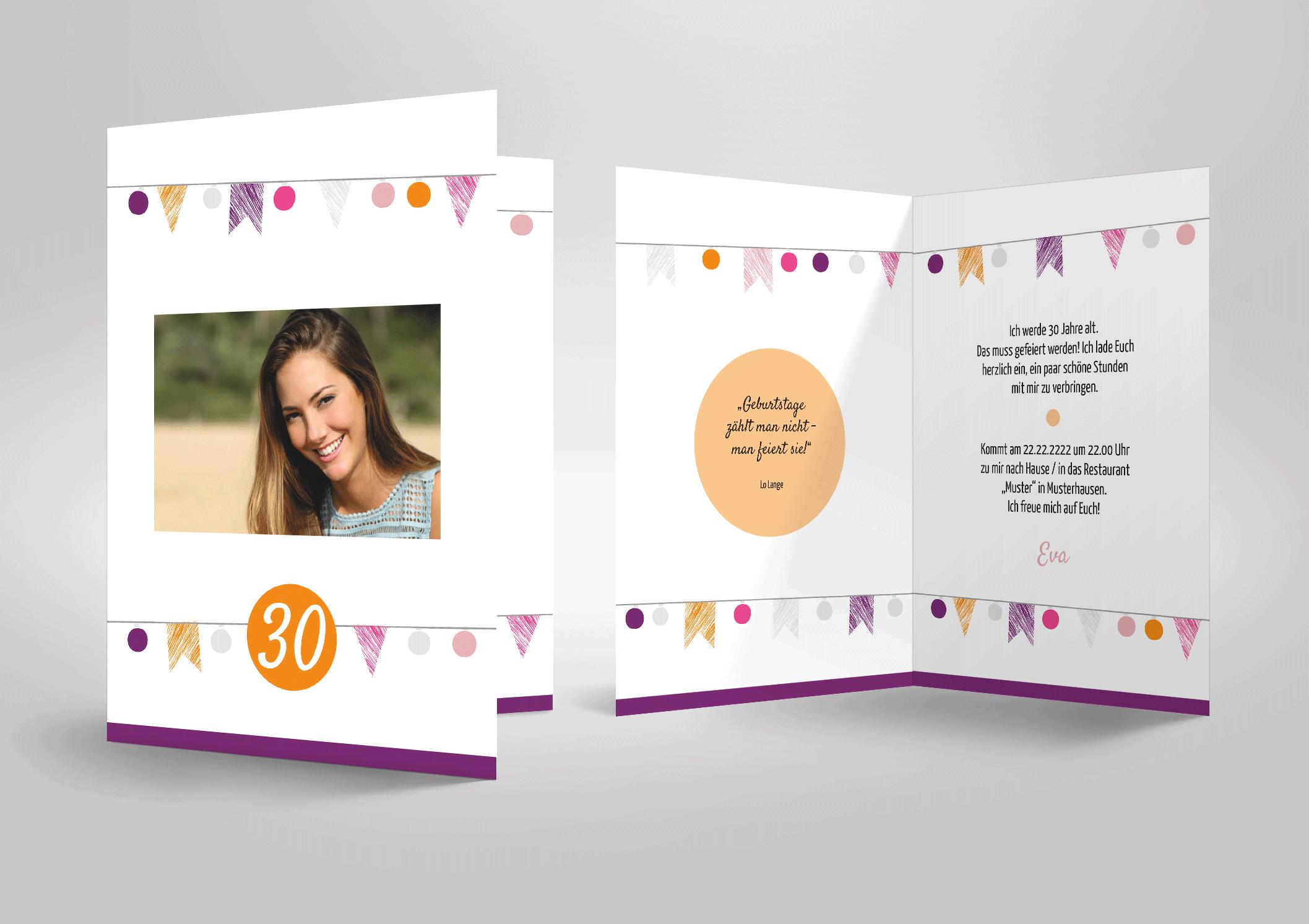 Einladungskarte zum Geburtstag Fähnchen, Grilande, lila