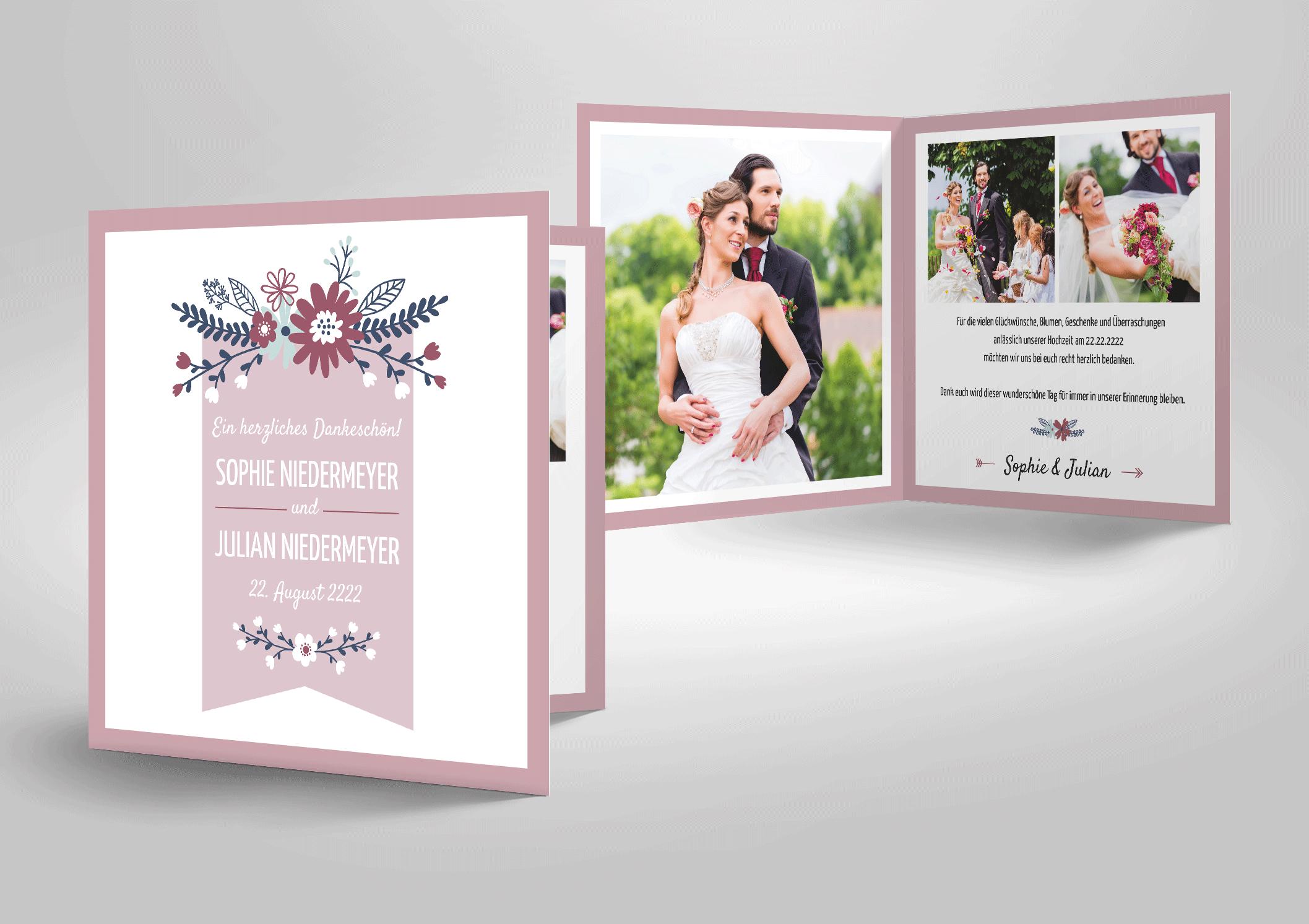 Dankeskarte zur Hochzeit Landliebe mit Blüten, Landhausstil