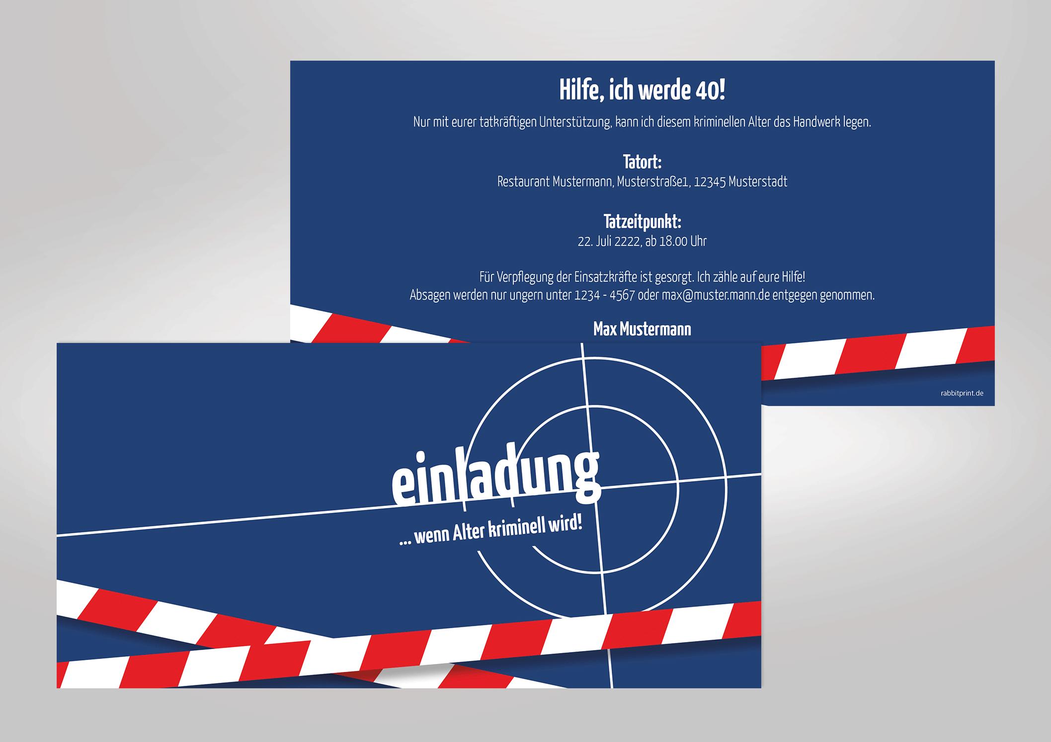 Einladungskarte zum Geburtstag Tatort