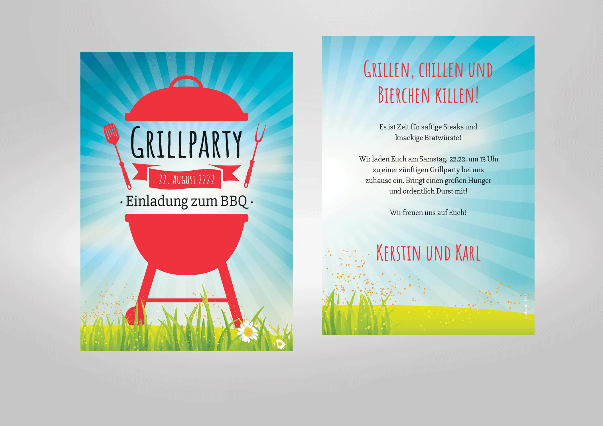Einladungskarte zum Geburtstag Grillen