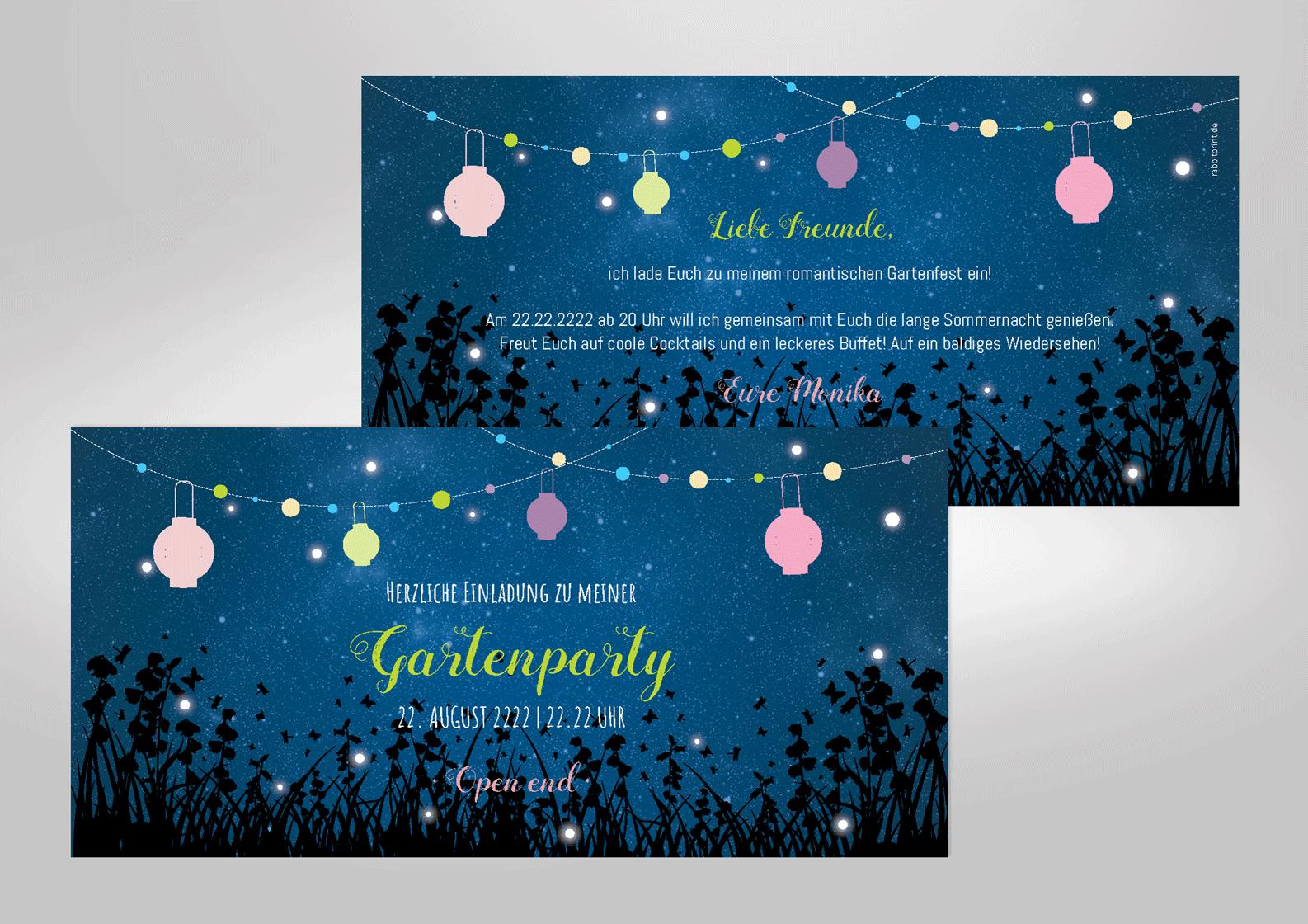 Einladungskarte zum Geburtstag Lampions Sternenhimmel