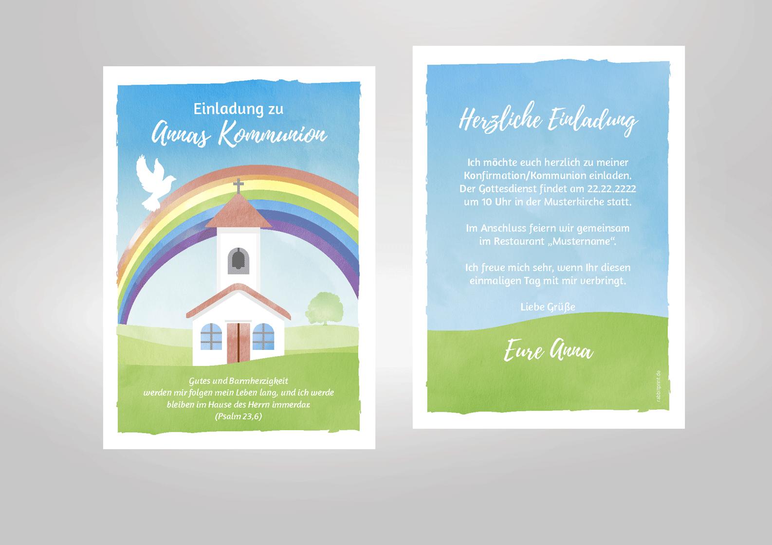 Kommunioneinladung mit Regenbogen